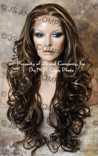 Light Brown blonde Mix HEAT SAFE Lace Front wig Curly Long JSHY 8-27-613