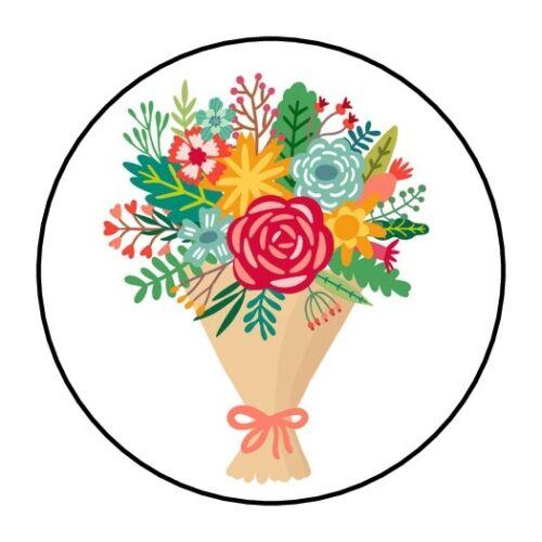 "30 Flower Bouquet Envelope Seals Labels Stickers 1.5/"" Round floral pretty"