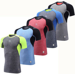 2017-Mens-Body-Armour-Compression-Short-Sleeve-Under-Shirt-Baselayer-Top-Skins