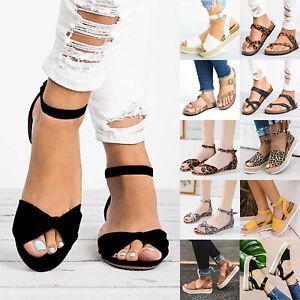 Ladies-Women-Peep-Toe-Espadrilles-Flat-Ankle-Strap-Sandals-Summer-Buckle-Shoes