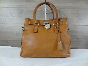 Michael Kors Brown Large Leather Chain Shoulder Bag Satchel Handbag Tote Purse