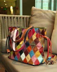 Fashion Women Color Genuine Leather Patchwork Bag Spangle-Ribbo Bag Cow handbag