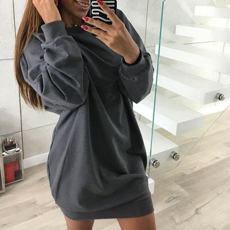 NEU Mode Damen Casual Sweatshirt Langarm Pulli Pullover Winter Kleid