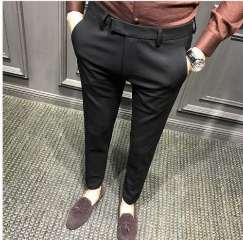 Men Slim Fit Stretchy Skinny Pants Mid Rise Dress Pencil Trousers Zsell