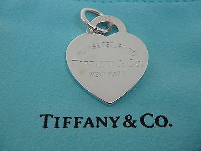 """med. """"Please Return to Tiffany"""" heart Tag charm /pendant brand new with pouch"""