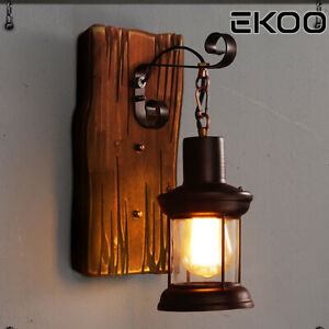 Details About E27 Wall Lights Vintage Lamp Wood Lamps Decor Lighting Fixtures
