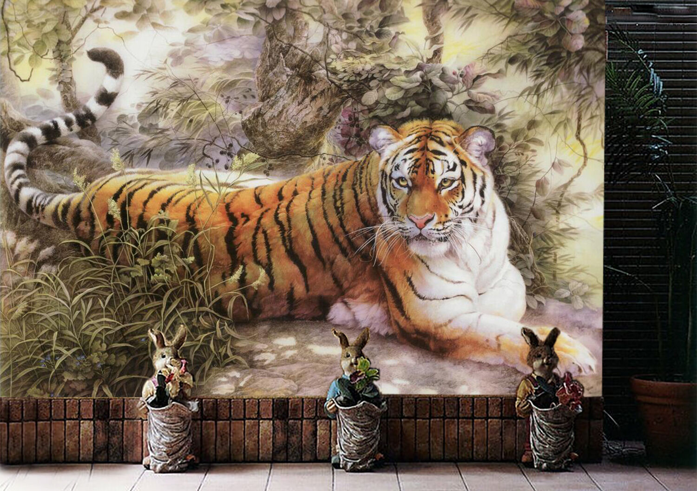 3D Tiger-Dschungel 90 Fototapeten Wandbild Fototapete Bild Tapete Familie Kinder