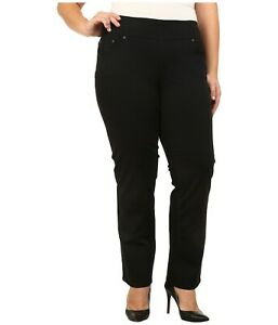 d8f562b61e1 Jag Jeans Womens Plus Size Peri Pull On Straight Twill Pants Black ...