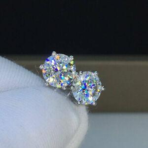 14K-White-Gold-Finish-4Ct-Round-Cut-Moissanite-Push-Back-Solitaire-Stud-Earrings