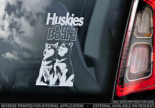 Huskies - Car Window Sticker - Siberian Dog on Board Decal Husky Dogs Sign - V04
