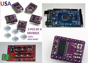 MEGA2560,RAMPS<wbr/>1.4,3D PRINTER BOARD & 5PCS DRV8825 STEPPER DRIVERS , USA!