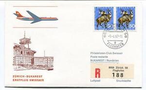Humoristique Ffc 1967 Swissair First Flight Zurich Bukarest Rumanien Registered Flughafen