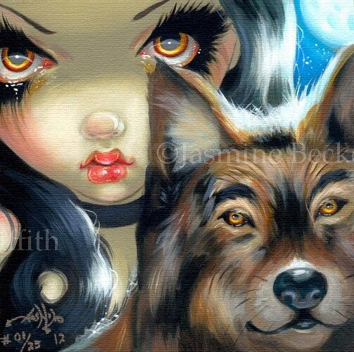 Faces of Faery 169 Jasmine Becket-Griffith art CANVAS PRINT wolf fairy gothic