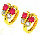 18k 18ct yellow gold filled GF butterfly huggies CZ hoop woman earrings E-A449