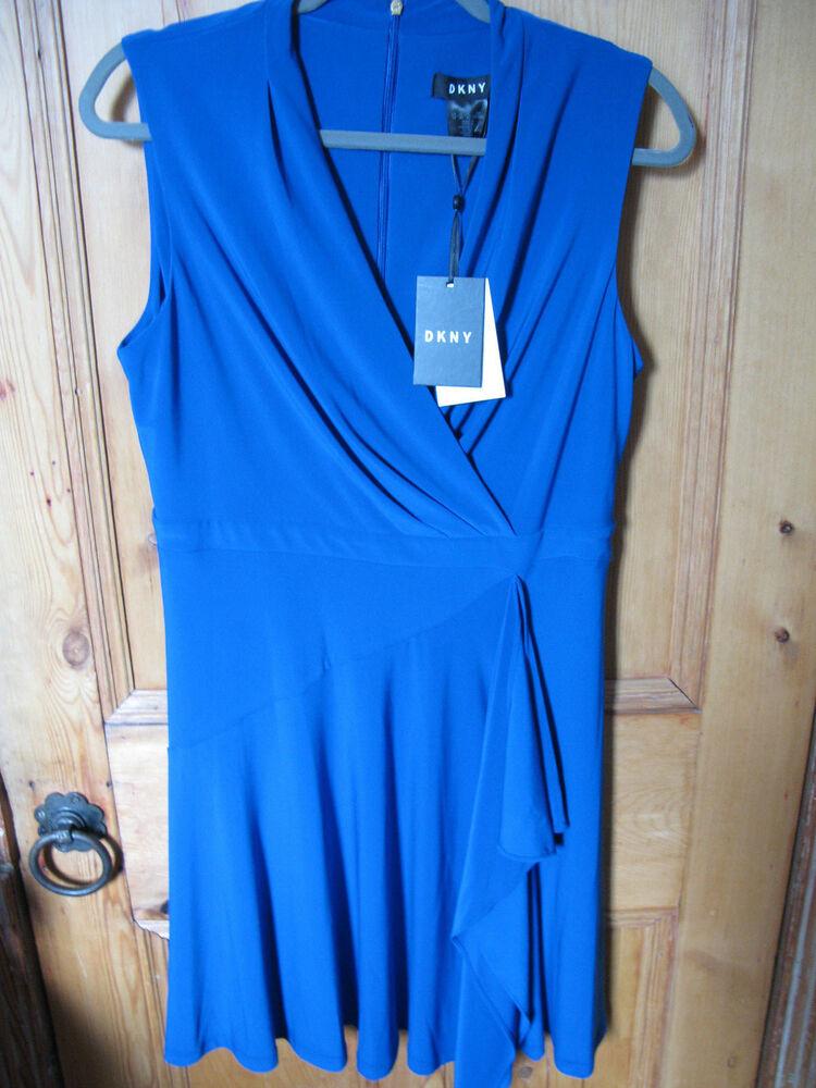 Dkny Robe Bleu Côté Drapé Sans Manches, Fermeture Éclair Arrière Neuf Avec étiquettes