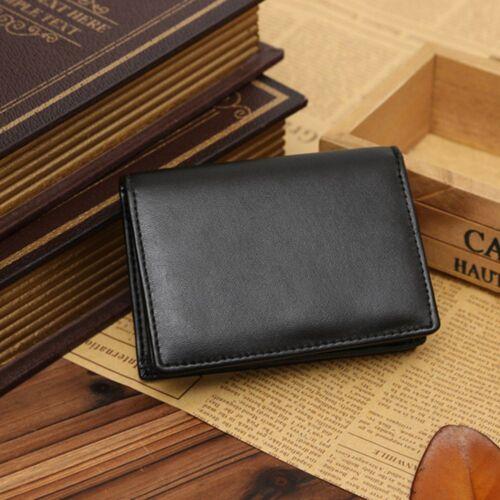 Money Clip Card Holder ID Wallet Genuine Leather Bifold Men/'s