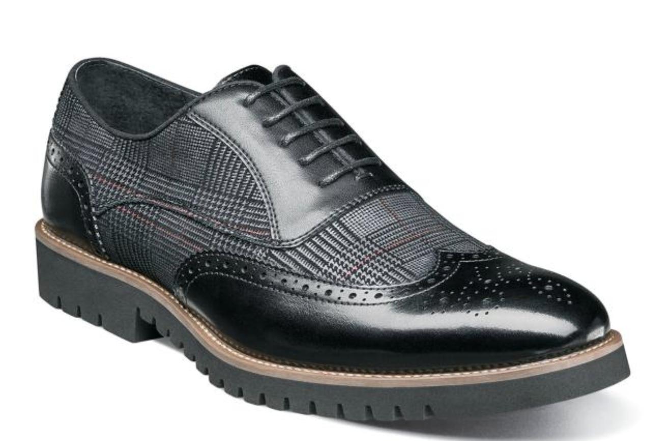 fino al 50% di sconto Stacy Adams Baxley Uomo scarpe Oxford Wingtip nero nero nero 25217-001  vanno a ruba