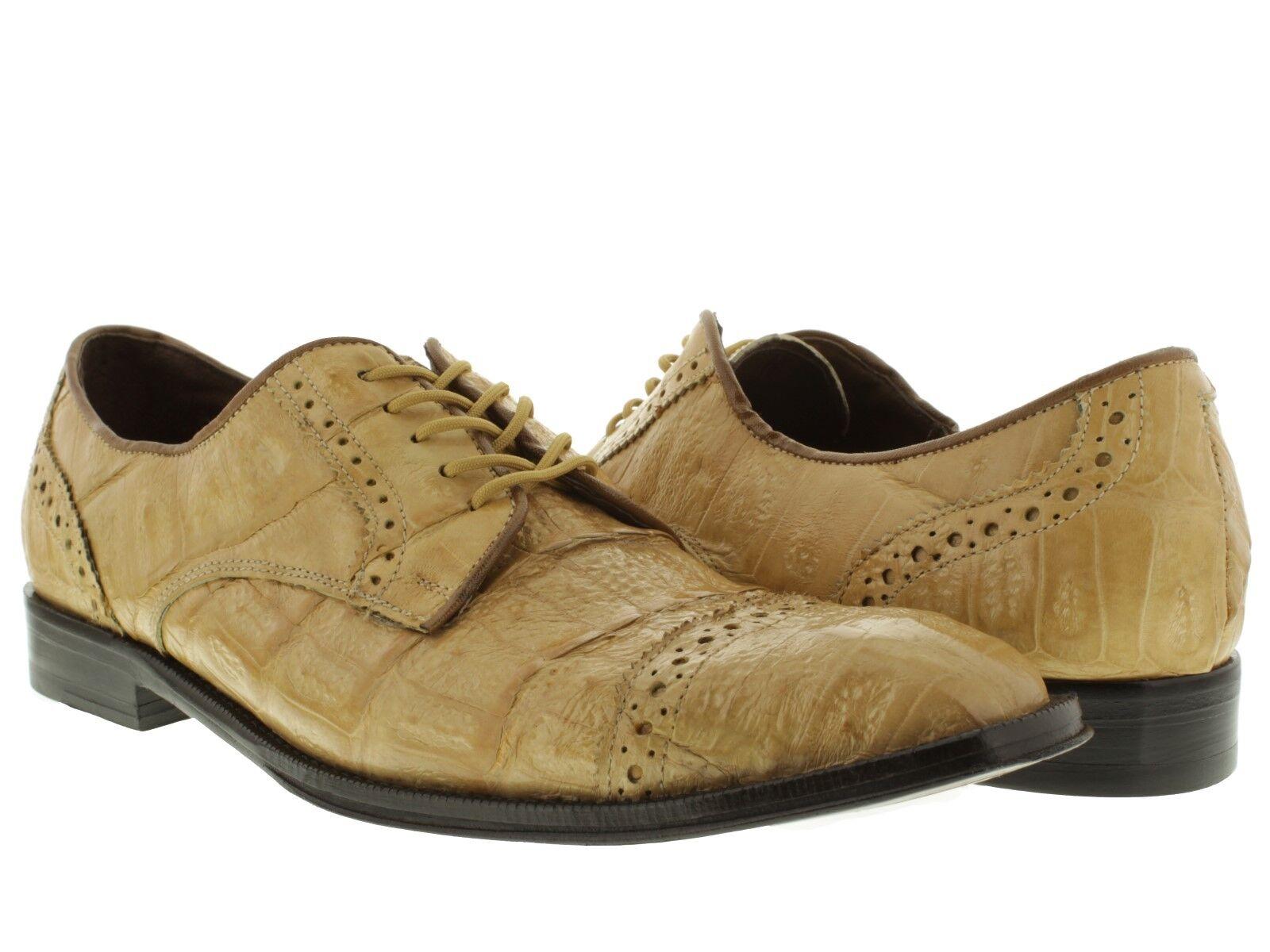 consegna gratuita Mens Sand Crocodile Crocodile Crocodile Dress scarpe Exotic Skin Genuine Leather Western Oxfords  ordina adesso