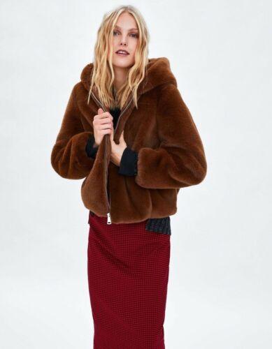 Size Uk Coat 8 Jacket 6 Xs Fur Brown Zara Hooded Short Faux 4B0wcxz
