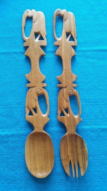 African Tribal Hand Carved Elephants Native Wood Fork