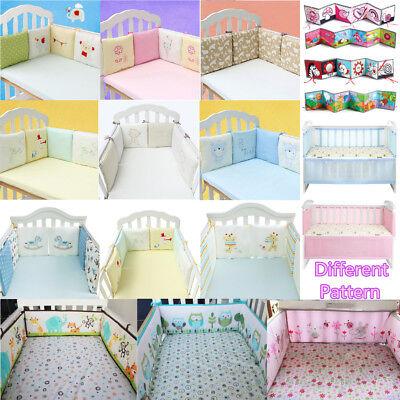 4//6Pcs Baby Infant Cotton Crib Bumper Nursery Bedding Cot Pillow Pad Protector