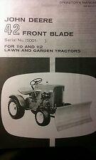 John Deere 42 Plow Blade Owners Manual 110 112 Lawn Garden Tractor Round Fender