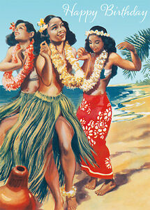 4 greeting cards hawaiian happy birthday hawaiian hula dancers image is loading 4 greeting cards hawaiian happy birthday hawaiian hula m4hsunfo