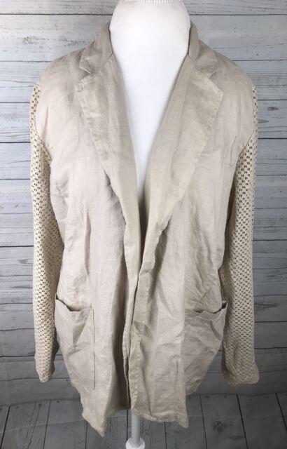 NWT CHICO'S 2 PUTTY Lt. TAUPE/BEIGE Long MESH Sleeve LINEN Cotton BLAZER JACKET