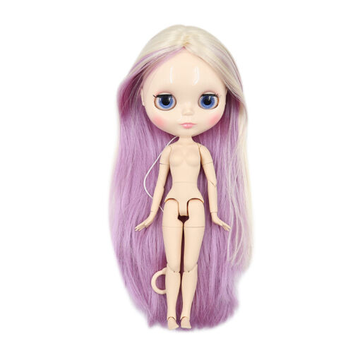 """12/"""" Takara Blythe factory Nude Doll Jointed Body Pink Mix Yellow Straight hair"""