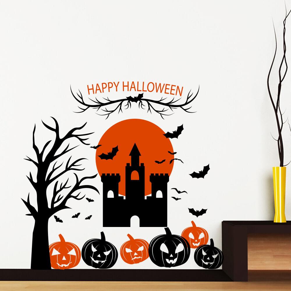 Halloween Wall Decal Pumpkin Sticker Castle Vinyl Holiday Home Decor Art MA380