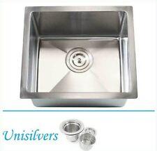 "17"" 15mm (1/2"") Radius Square Corner Stainless Steel Kitchen / Island Bar Sink"