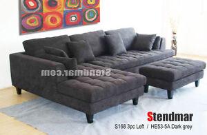 Details about 3-Pc Modern Dark Grey Microfiber Sectional Sofa Set S168LDG