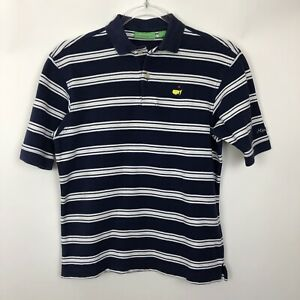 Masters-Polo-Shirt-Youth-Medium-12-14-Navy-Stripe-Short-Sleeve-Boys-Cotton