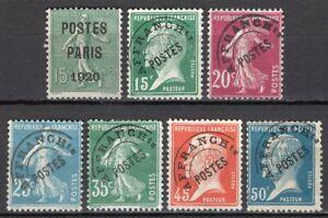 929-Francia-Lotto-di-7-francobolli-preannullati-1920-24-Senza-gomma