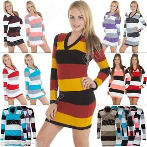 Womens-Long-Sleeve-V-Neck-Striped-Jumper-Knitted-Tunic-Dress-Top-Size-8-10-12-14