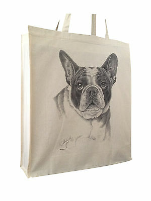 French Bulldog Cotton Shopping Tote Bag with Gusset & Long Handles Perfect Gift