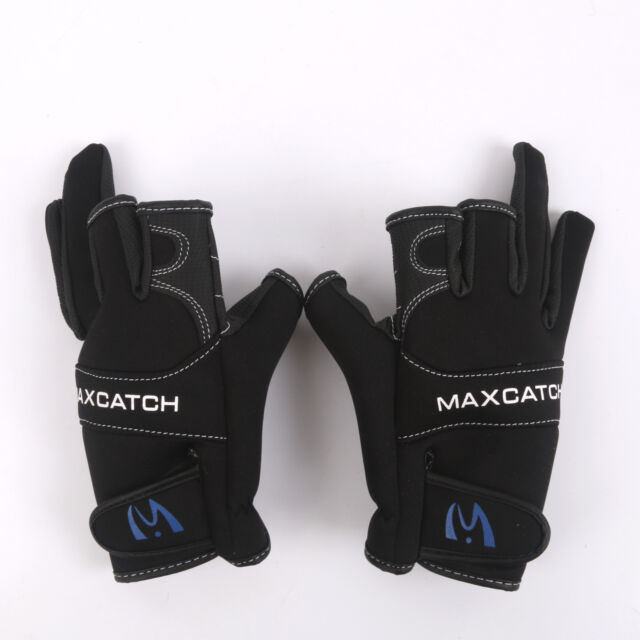 Size L One Pair Black 3 Cut Fingerless Fishing Gloves Breathable Outdoor Gloves