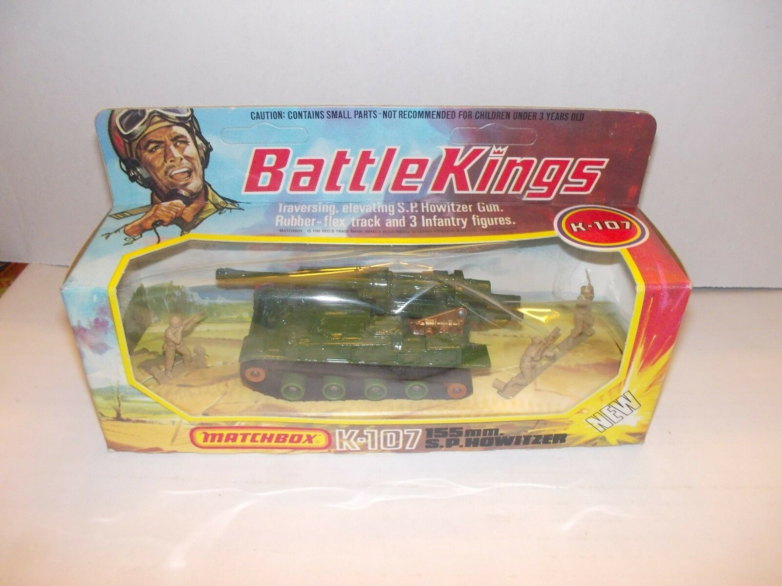 Vintage Matchbox King Taille Battle Kings TANK NEW IN BOX K107 K-107 avec pistolet Guy droit Box