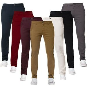 Enzo-Mens-Chinos-Trousers-Slim-Fit-Skinny-Stretch-Cotton-Pants-Jeans-All-Waists