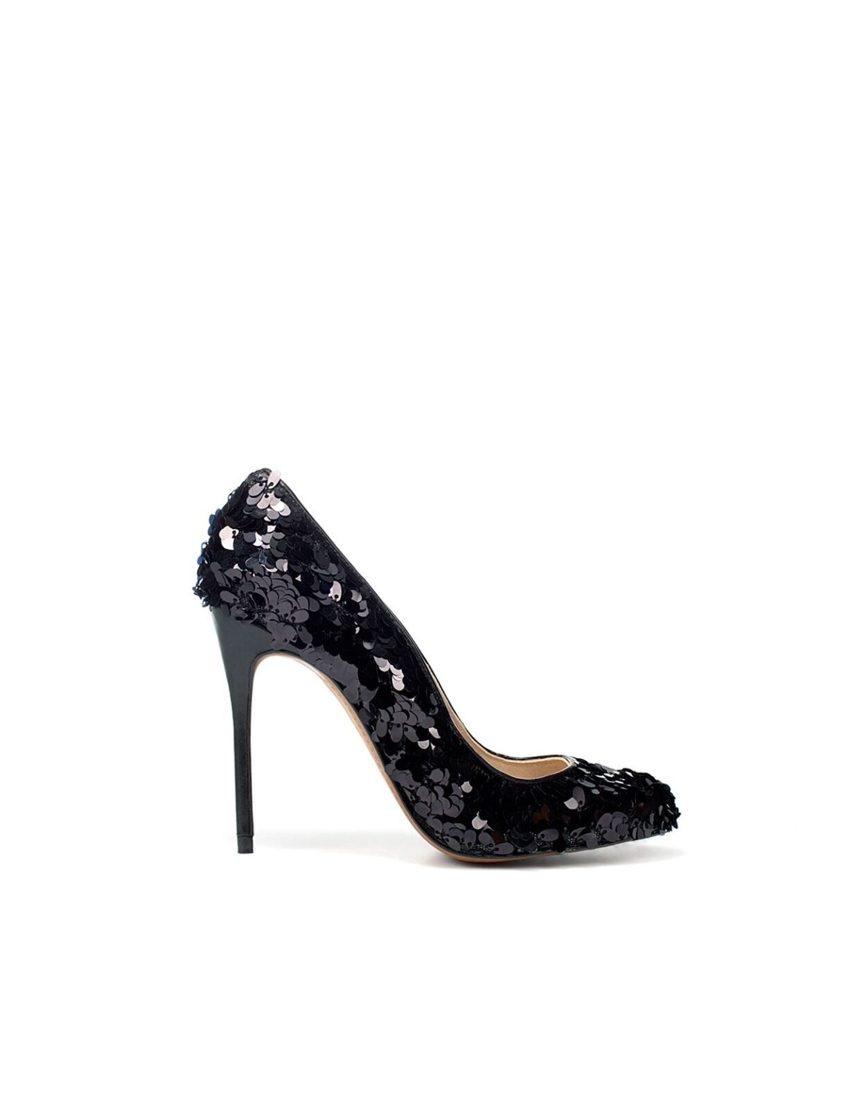 ZARA BNWT BLACK HIGH HEEL Schuhe WITH SEQUINS UK7 US9 EU40