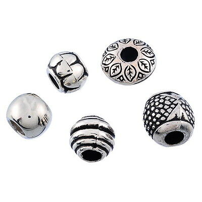 50PCs Mixed Silver Tone Acrylic Spacers Beads Fit Charm Bracelet