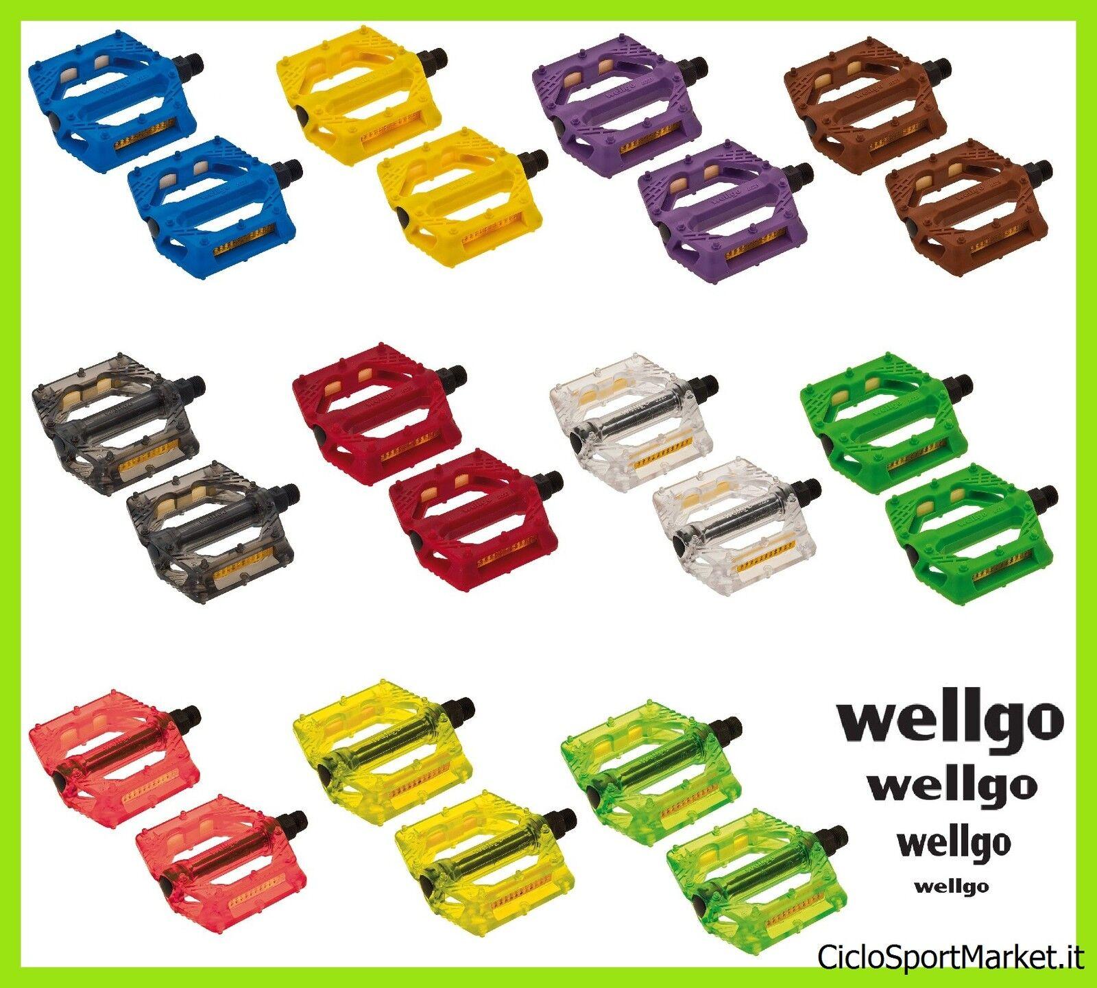 Pedale Harz Kunststoff WellGo für Fahrrad starrer Gang/BMX/MTB - Alle Farben