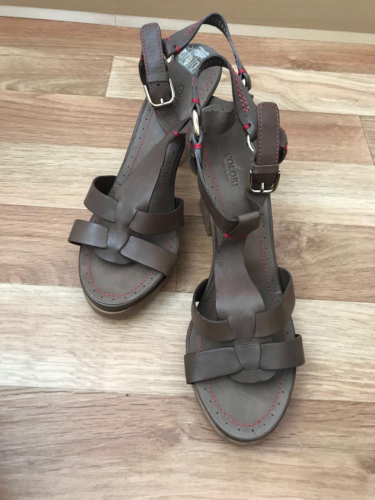 Colori   sandalias zapatos de salón alto del apartado de cuero talla 40 italia elegante marrón rojo nuevo