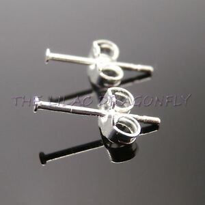 Image Is Loading 925 Sterling Silver 1 4mm Flat Pad Ear