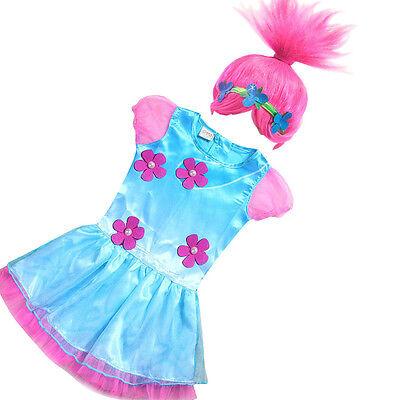 Child Trolls Poppy Troll Fancy Dress Costume /& Wig Kids Girls Outfit cosplay