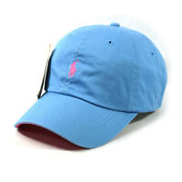 SP57 Polo Sky Blue Cap Fine Embroidery Small Light Pink Logo Baseball Tennis Hat