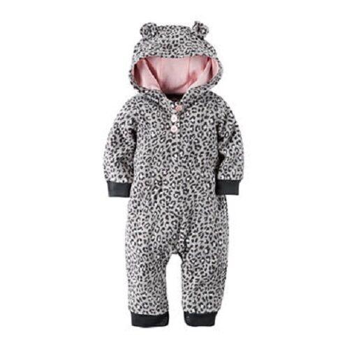 Carter/'s Gray Leopard Animal Print Hoodie 1-Piece Jumpsuit Infant Girl 18 Months