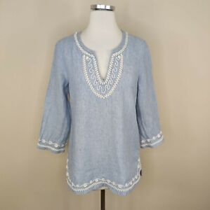 Vineyard Vines Blue Embroidered Linen Tunic Top S Small V-Neck 3/4 Sleeve
