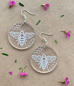 Bee Earrings Engraved Clear acrylic earrings