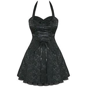 Black-damask-gothique-steampunk-emo-parti-robe-de-bal-uk